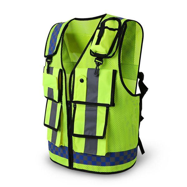 Giubbotto riflettente Traffic Warning Road Abbigliamento fluorescente Ingegneria di lavoro Vest di sicurezza Tasche multitasche da lavoro T190622