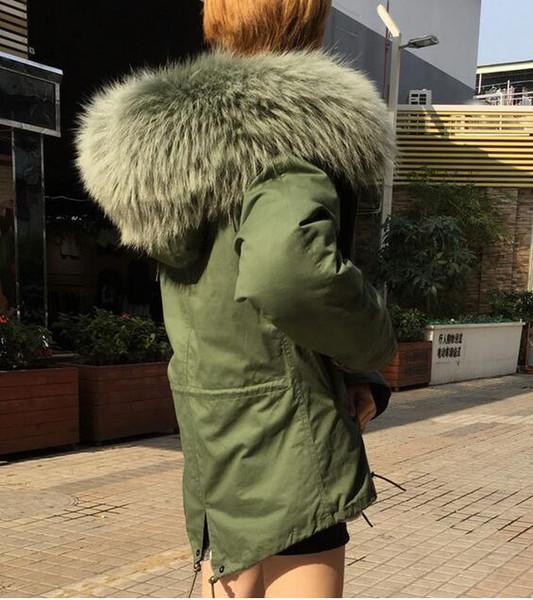 4XL 3XL женщины снег куртки мята зеленый енот меховая отделка Meifeng Марка мята зеленый кролик меховая подкладка армия зеленый холст мини парки