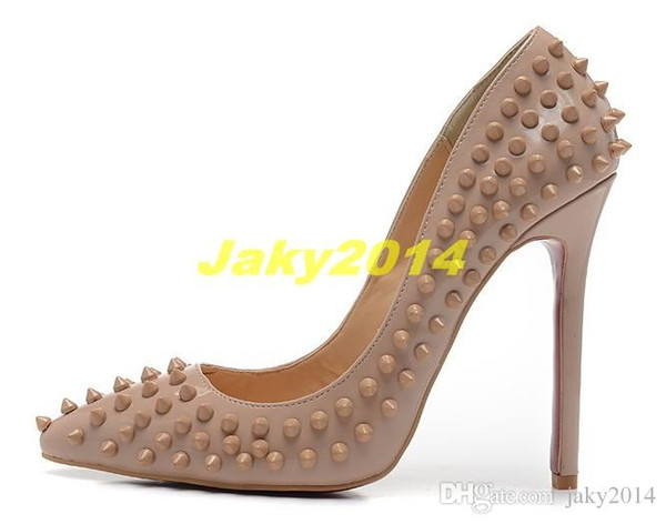 Sexy Ladies High Heels Spikes Shoes 12cm Rivets Studded Dress Shoes Women and Girls Hot Sale Candy Spike Pumps