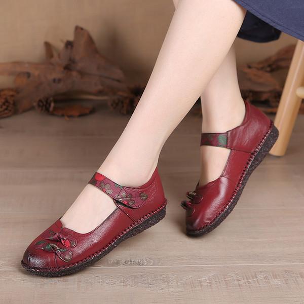 Aardimi 2019 Genunie zapatos de cuero de las mujeres de la vendimia del verano del verano Mary Janes Shallow mujeres zapatos planos de ballet femenino pisos
