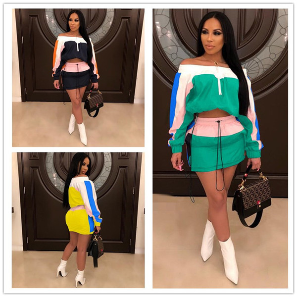 Panelled Women Sun-protective Tracksuit Summer Outfits Long Sleeve Shoulder Out Crop Top Jacket Short Dress Sportswear Street Suit A3252