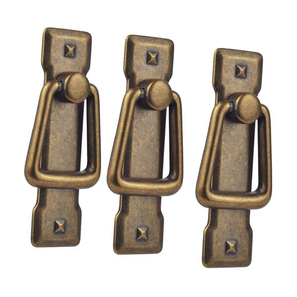 best selling 3Pcs Retro Cabinet Knobs Drawer Door Bin Cupboard Drop Ring Pulls Handle Bronze