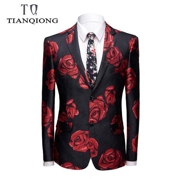 Men Brand Plus Size Coat Mens Casual Blazers Homme Designs Slim Fit Fashion Gold Rose Pattern Suit Jacket DJ Singers Costume
