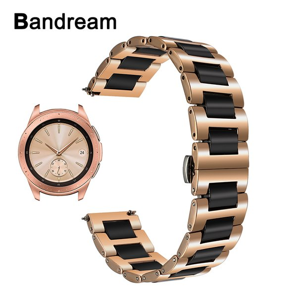 20mm Ceramic + Stainless Steel Watchband For Samsung Galaxy Watch Active / 42mm Sm-r810 Quick Release Strap Wrist Band Bracelet T190620