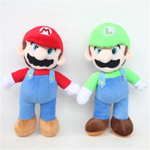 25cm 2 Style Super Mario Bros Luigi Plush Toys Super Mario Doll Stand Mario Brother Stuffed Toys Soft Dolls For Children Good Gifts