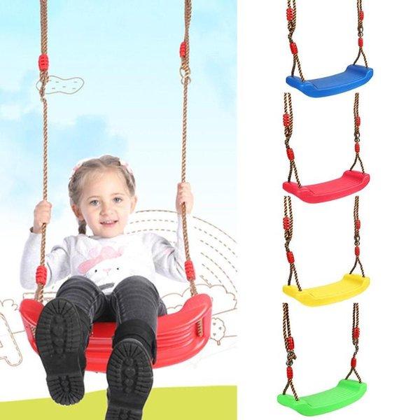 lastic Garden Kids Jouet suspendu à siège avec cordes réglables en hauteur Jouets extérieurs intérieurs Rainbow Curved Board Swing Chair Chaise en plastique ...