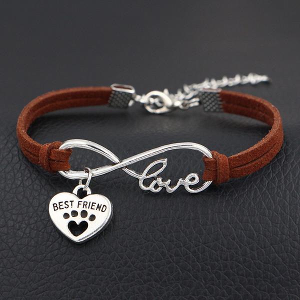 Infinity Love Pets Cat Dog Paw Best Friend Heart Pendant DIY Bracelet for Women Men Temperament Simple Dark Brown Leather Suede Rope Jewelry