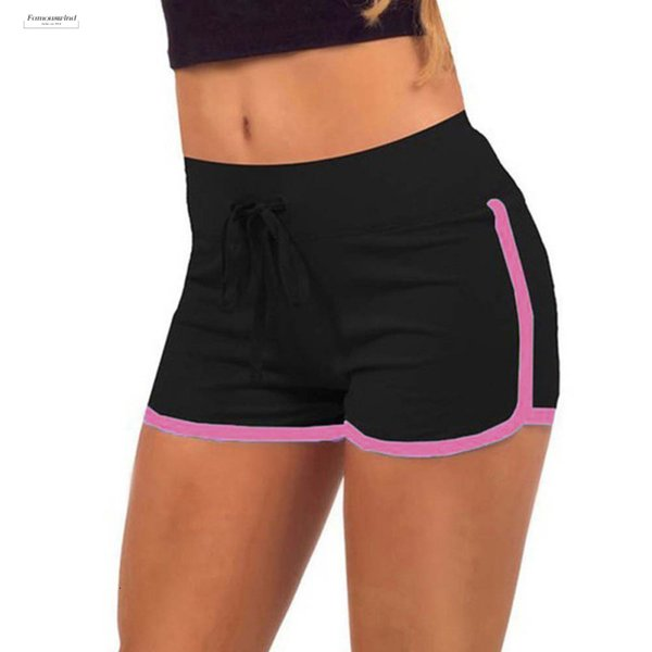 Esportes Trocknen Frauen Shorts Kordelzug beiläufige kurze Entleerte Baumwolle Kontrast-elastische Taille Correndo Anti Pants 2019 Neueste