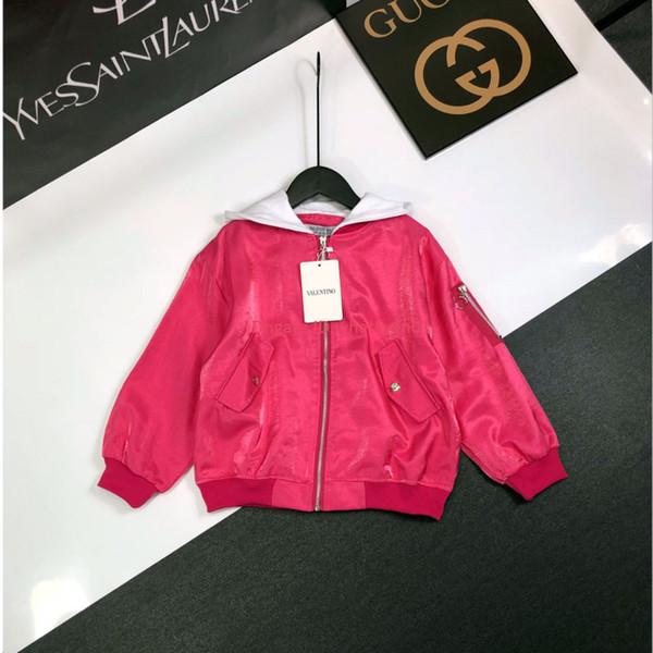 Girls jacket kids designer clothing autumn new baseball uniform coat cute energetic hooded design jacket