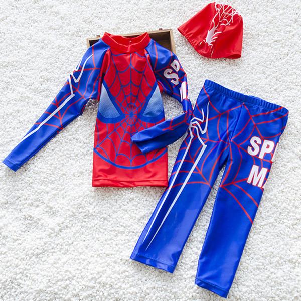 Boys Long Sleeve Sunblock Beach Swimwear Quick-dry Cartoon Spiderman Two-pieces Swim Suits Hot Springs Kids Swimsuits Q190531