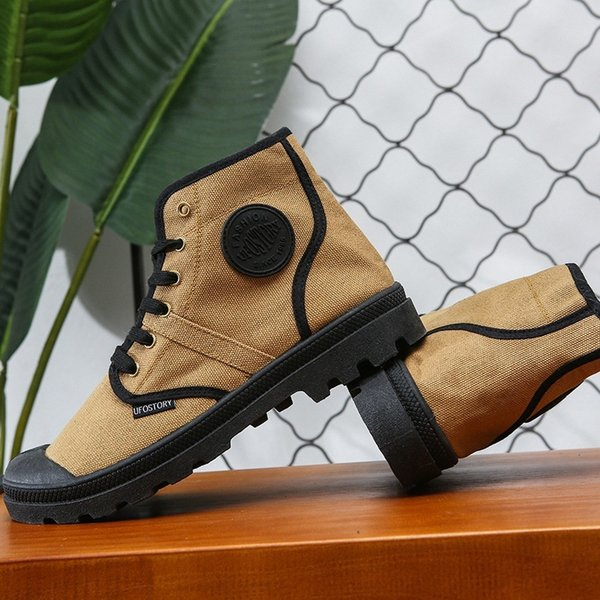 Non-slip Wear-resisting Popular Paladin Male Shoe Outdoors Sneakers Martin Boots. Korean trend canvas tooling shoes military boots