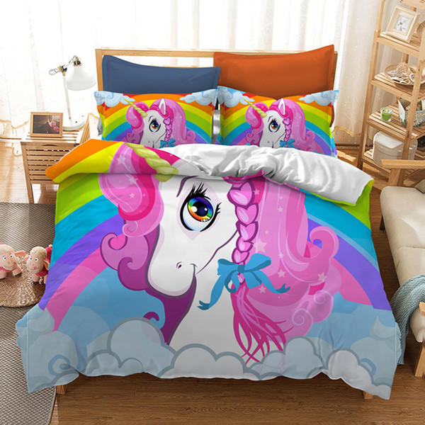 Unicorn Printed Bedding Set King Size Rainbow 3D Duvet Cover for Kids Queen Home Textile Double Single Bed Set With Pillowcase 3pcs