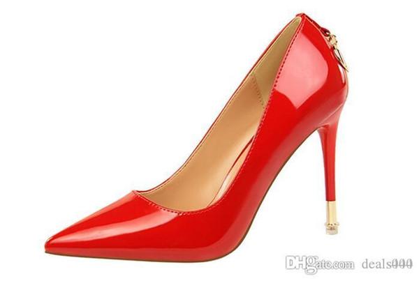 Sapatos Feminino Femmes Toe Patent Pu Pointu talons en cuir Corset style travail Escarpins Cour