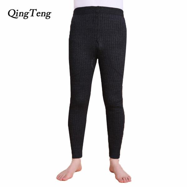 QingTeng Ropa Interior Térmica Súper Cálido Espesar Hilo de Lana Merino Punto de Cintura Alta Para Hombre Pantalones Calientes de Invierno Largos Johns Leggings