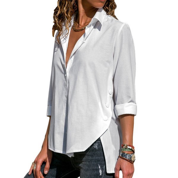 Womens Long Sleeve Tops Blusas Turn Down Collar Solid Office Blouse Fashion Button Side Split Blouses Casual Loose Ladies Shirts Y19050501
