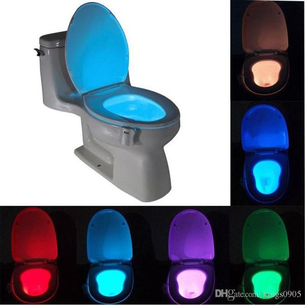 Sıcak satış Akıllı Banyo Tuvalet Nightlight LED Vücut Hareket Aktif On / Off Koltuk Sensörü Lambası 8 Renk Tuvalet lambası sıcak