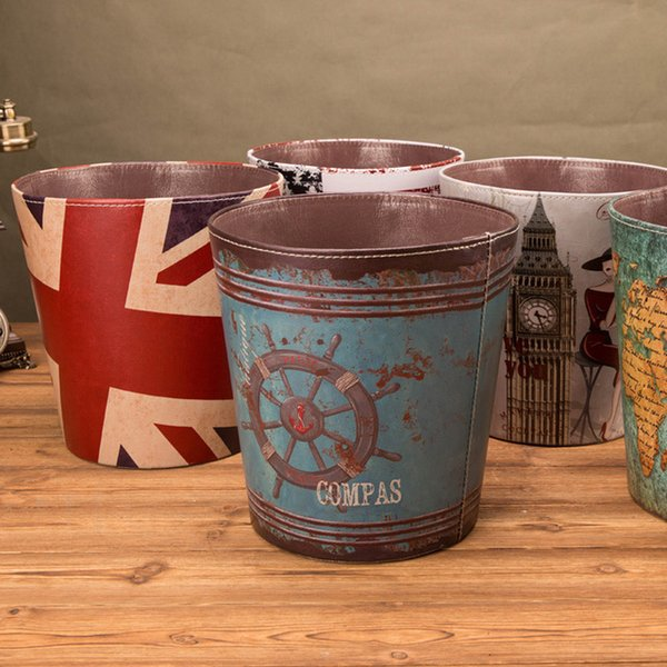 Coffee Shop Printed Paper Basket Full Body Waterproof Large Size Home Leather Waste Bins Creative Design Storage Without Cover DH0812