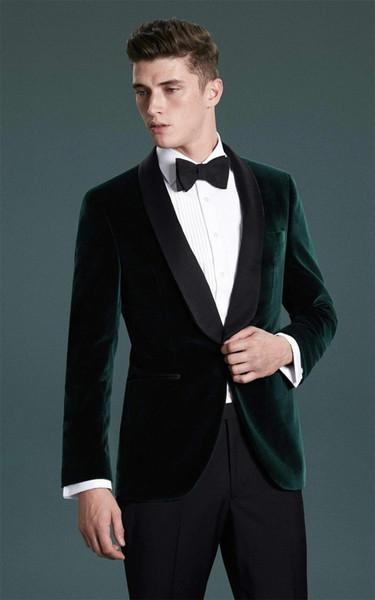 Bräutigam Smoking Groomsmen Schal Revers Maßgeschneiderte One Button Herren Anzüge Hochzeit / Prom / Dinner Trauzeuge Blazer (Jacke + Hose + Krawatte) M1270