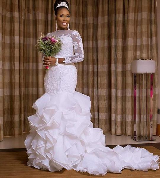 Robe De Mariage Vestidos de novia de encaje para mujer 2019 Media manga Tallas grandes Cascading Ruffles Vestido de sirena Vestidos de novia