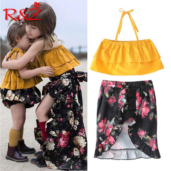 Rz Summer New Fashion Girls Ярко-желтые ремни с цветочным костюмом Tube Top Dress из двух частей Q190523