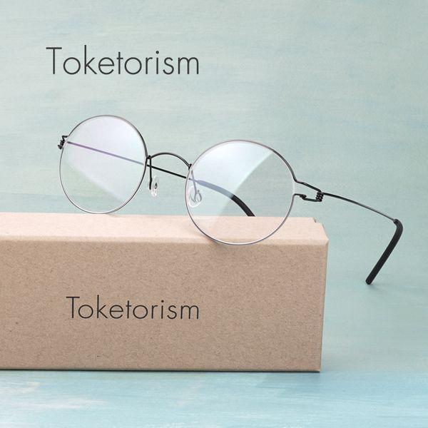 Toketorism handmade Korean screwless eyewear titanium alloy lightweight round eyeglasses optical glasses frame 70682