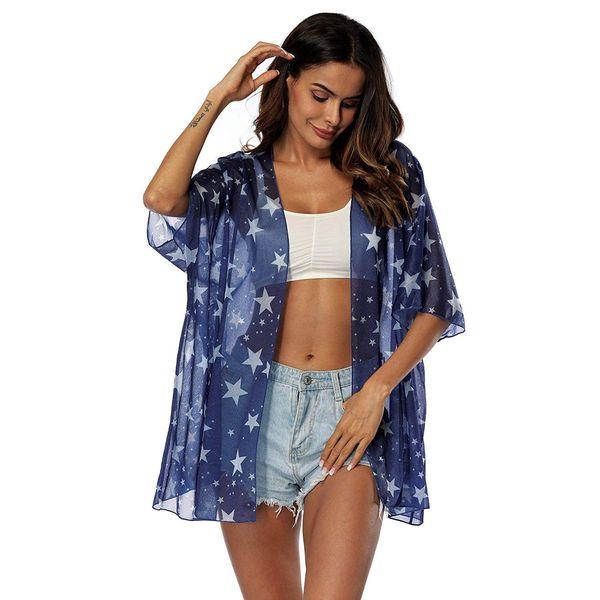 Fashion Women's Floral Kimono Cardigan Sheer Tops Loose Blouse Lightweight Sunscreen Bikini Beach Cover Ups Casual Tops