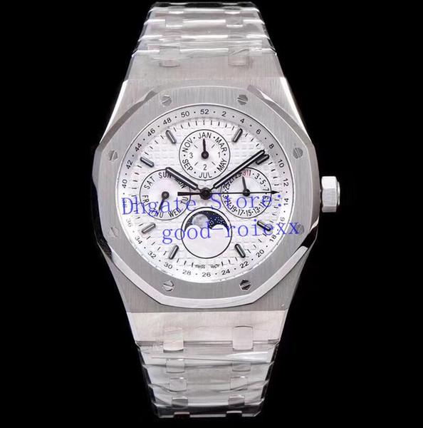 Erkek Saatleri Erkek Otomatik Cal.5134 Watch Men Moonphase Display Gündüz Saati 26574 Yıllık Takvim Meşe 26597 Tarih 41mm Ay Kol