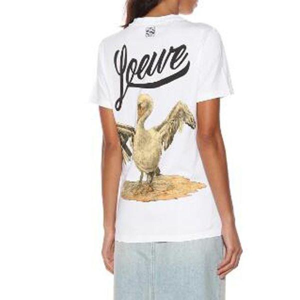 19SS Yeni Loewe Klasik Kuğu Baskı T-shirt Yaz T Gömlek Karikatür Genç Kısa Kollu Moda Casual Erkek Kadın Tee HFYMTX421