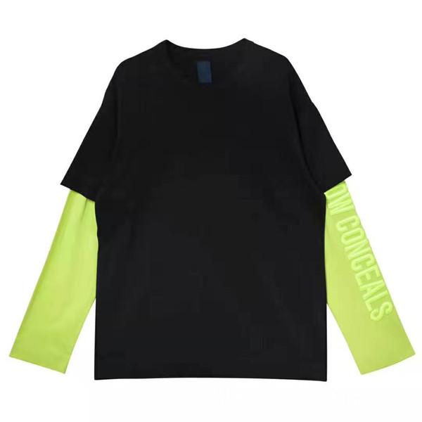Brand New Mens Designer Hoodies De Mode Broderie Contraste Couleur Faux Deux Pièce Hoodies Casual À Manches Longues Mens Lâche Hoodies
