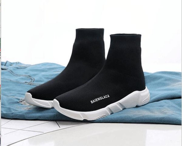 Designer Speed Trainer fashion Luxury men women Sock Shoes black white blue oreo Flat mens sport Runner sneakers size 36-45