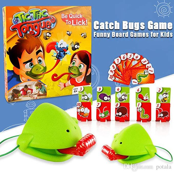 Tic Tac Tongue Catch Bugs Game Take Card-Eat Pest Car Funny Desktop Games Board Card Games for Kids Adults friends Families Chameleon Funny
