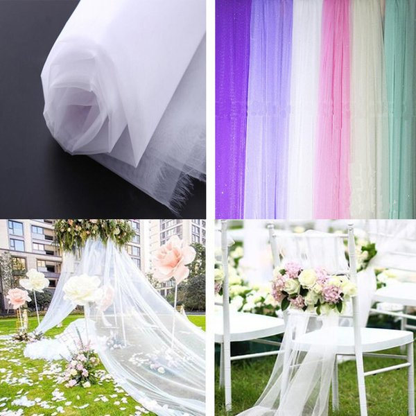 Wide 1.5 meter Mariage Yarn Tulle Sheer Crystal Organza Fabric Birthday Event Party for DIY Arches Chair Sashes Wedding Decoration