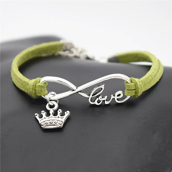 Mother's Day Silver Infinity Love King Imperial Crown Pendant Charm Fit Original Bracelet for Women Men Green Leather Suede Rope DIY Jewelry