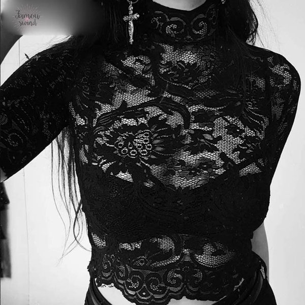 Aesthetic T Shirt Mesh Hollow Out T Shirts Hole Patchwork Crop Top Transparent Gothic Solid Embroidery T Shirt Lace