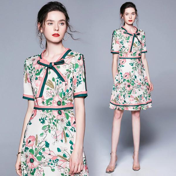 Бутик с цветочным бантом женское платье Summer Lady Dress Модное элегантное офисное платье Платья для девочек