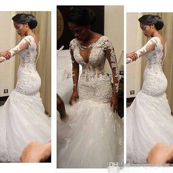 Africano boho plus size lace manga comprida sereia vestidos de casamento vestidos de noiva vestidos de noiva Jewel Neck Cover Botão País Wedding Dress