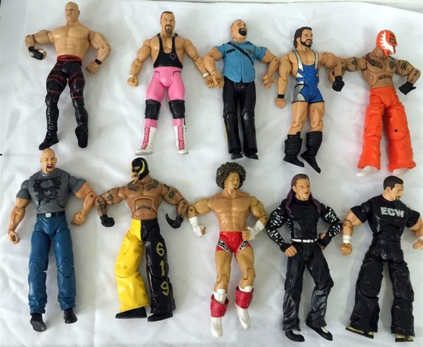10pcs / lot différents gladiateurs de lutte d'occupation des personnages lutteur figurine jouet Collection modèle figure articulation mobile