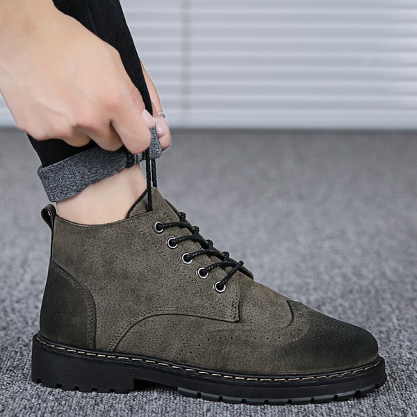 Brogue Ankle Martin Boots Men Spring Autumn Vehicle Sewing Work Shoes Men Martin Boots Vintage Tooling Leather Shoes Men