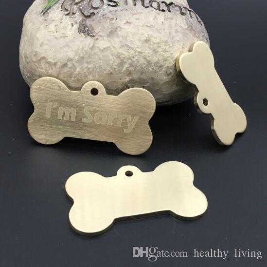 Pet Dog collar accessories Decoration Pet ID Dog Tags Collars Brass flat edge dog tag metal id tag wire drawing pet id tag-Z017