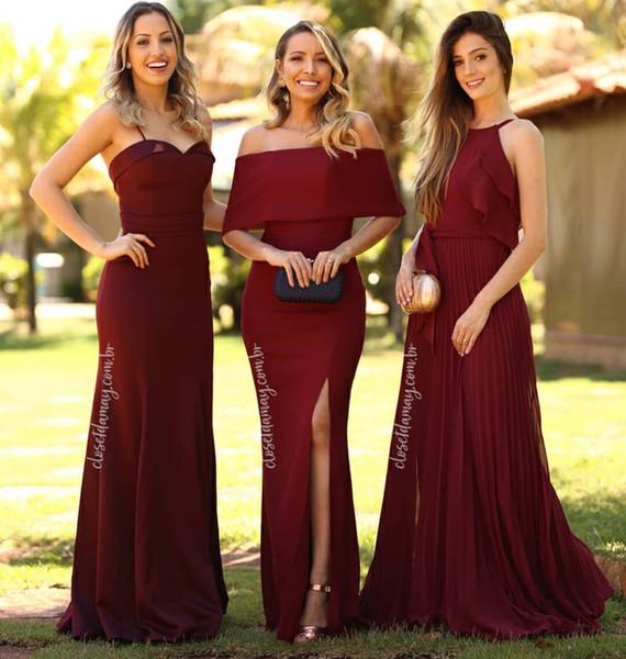 Compre 2019 Nueva Llegada Borgoña Tendencia Vestidos De Dama De Honor Una Línea De Gasa Sin Espalda Vestido De Boda Long Beach Barato Vestidos De Dama