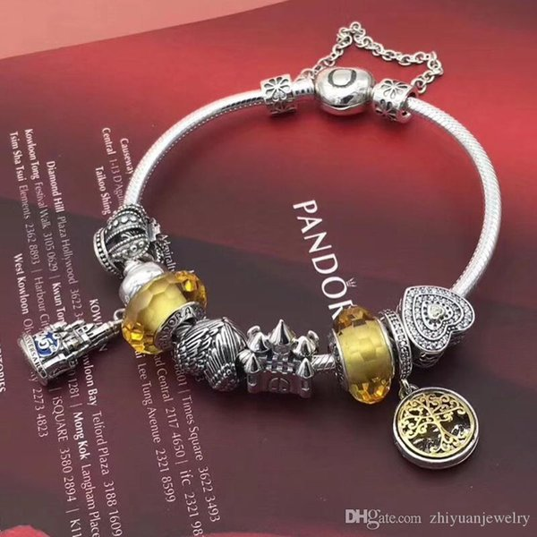 cba49ccfd Christmas gifts 2018 Pandora moments gold family tree charm bangle  bracelets 925 sterling silver jewelry full