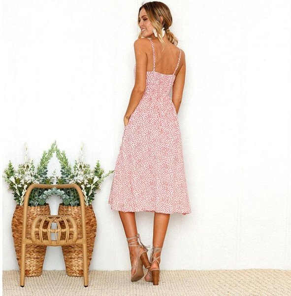 Kadın elbise Yaz sling Yelek backless kolsuz V Boyun Çiçek baskı Lady etek Elastik büstü Gevşek Bel Rahat Gevşek Elbiseler Boyutu S-2XL D5