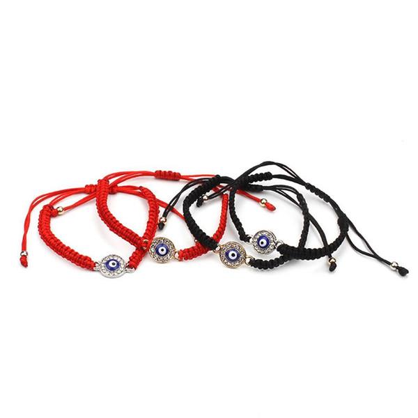 New Fashion Unisex Fashion Eyes Shape Rhinestone Braided Bracelet New Eyes Shape Drawstring Braided Bracelet