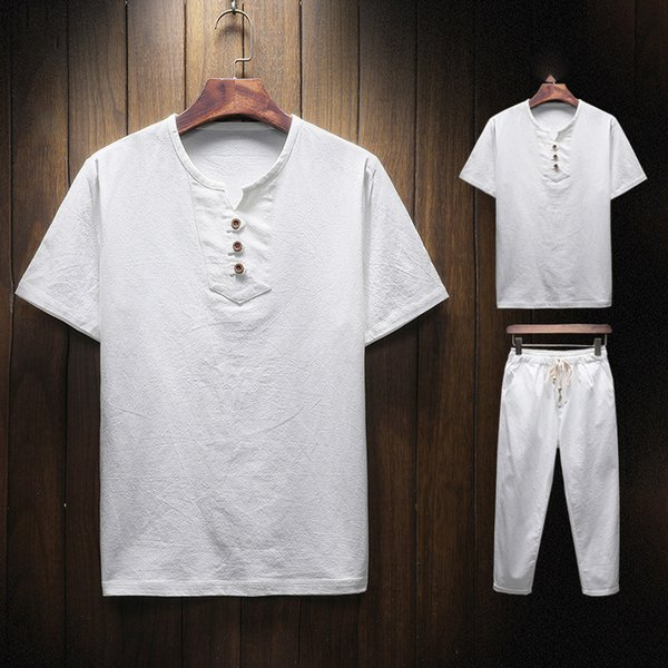2019 men two piece sets casual style new summer men's cotton and linen leisure suit short-sleeved T-shirt nine pants suit men's tshirt pants
