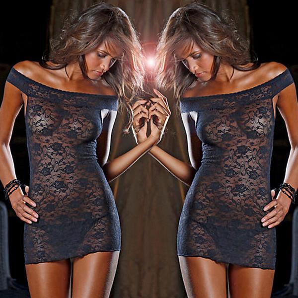 Mulheres Lace Alças ver embora Vestido G-string Nightwear Transparência Intimate Picardies Lingerie Pijamas Pijamas Underwear