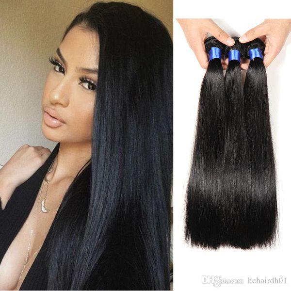 Brazilian Virgin Hair 3 Bundles Silk Straight Peruvian Human Hair Bundles Unprocessed Mink Brazilian Hair Extensions 8-28 inch