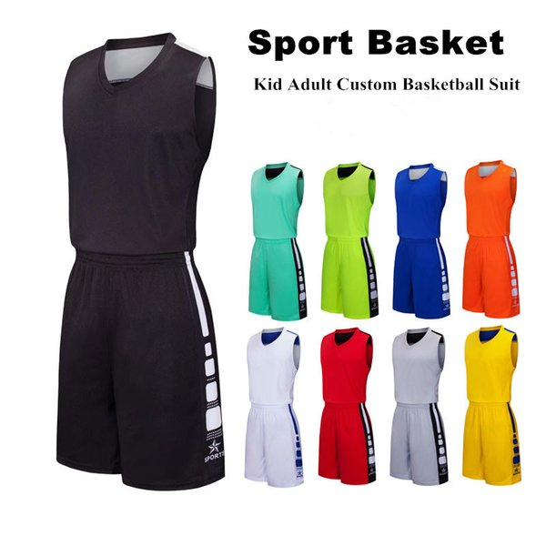 2019 Basketball Training Suit Wholesale Uniforms Basketball Sets Customized Team Lgos polyester Sports Suit College Basketball Jerseys NEW