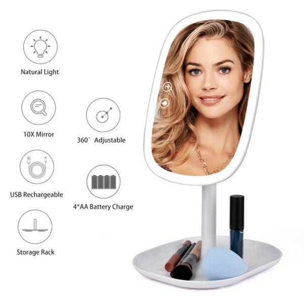 47 LED Lights 360 Rotating Desktop Mirror Touch Screen Makeup Mirror Professional Vanity Mirror Beauty Adjustable Countertop