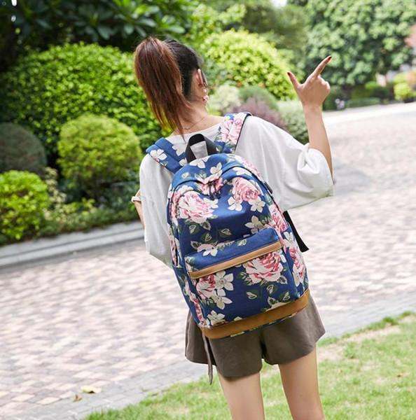 Flower printing shoulder bag lady large capacity travel bag mori girl backpack mochilas mujer 2019 mochilas escolares
