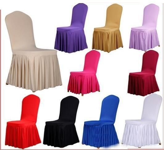 High Quality Chair skirt cover Wedding Banquet Chair Protector Slipcover Decor Pleated Skirt Style Chair Covers Elastic Spandex